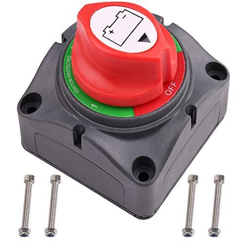 LotFancy Batterieschalter, 6 V-60 V DC (am weitesten kompatibel), Batterie-Trennschalter für Marine, Boot, Auto, RV, ATV, UTV, Fahrzeuge, 1-2 Batterien Master Isolator Trennschalter 2 Batterie-isolator