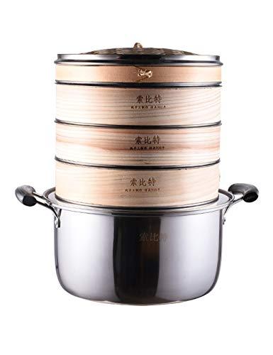 FANGFA-zlong Bambus Dampfer Handgemacht Haushalt Stahlkante 3 Schichten Gedämpfte Brötchenknödel Lebensmittel Heizung Mit Topf (4 Größen)