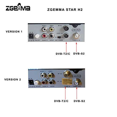 ZGEMMA STAR H2 Combo Receptor De TV FTA Linux OS DVB-S2+ DVB-T2/C Dos  Sintonizadores/Decodificador(Satélite,Cable Digital, HDMI)