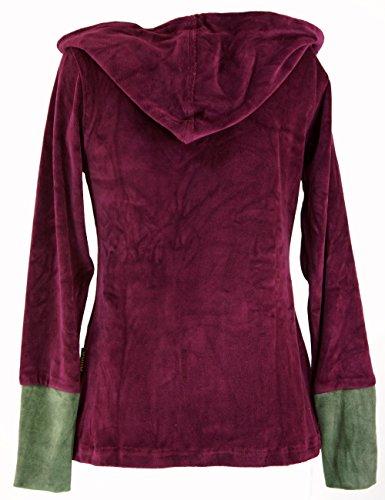 Guru-Shop Samt Hoody Boho Chic, Langarmshirt mit Schalkragen, Damen, Baumwolle, Pullover, Longsleeves & Sweatshirts Alternative Bekleidung Bordeaux