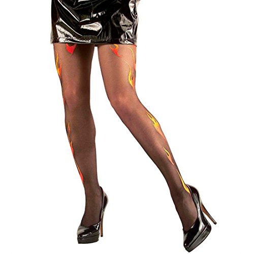 Schwarze Teufelin Strumpfhose Flammen Feinstrumpfhosen Glitterflamme Damenstrumpfhose Feuerwehr Frau Nylonstrumpfhose Vamp Nylons Halloween Kostüm Zubehör (Feuerwehr Frau Kostüm Kostüm)
