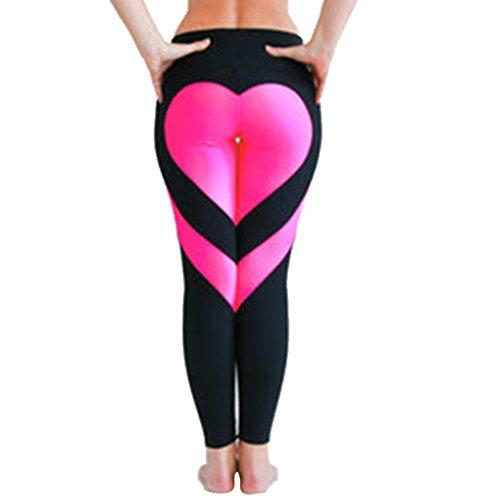 Babysbreath Plus Größe Frauen Herz Yoga Leggings Patchwork Hosen Schlank Leggings Sport Laufhose Gym Jogging Hosen Hohe Taille Schwarzer Boden und rosa Herz XXL -