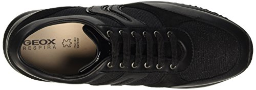 Geox D Happy A, Baskets Basses Femme Schwarz (BLACKC9999)