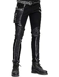 053faae39b Devil FASHION HOMBRE dieselpunk Pantalones Vaqueros Negro Gótico Punk Piel  Sintética ...