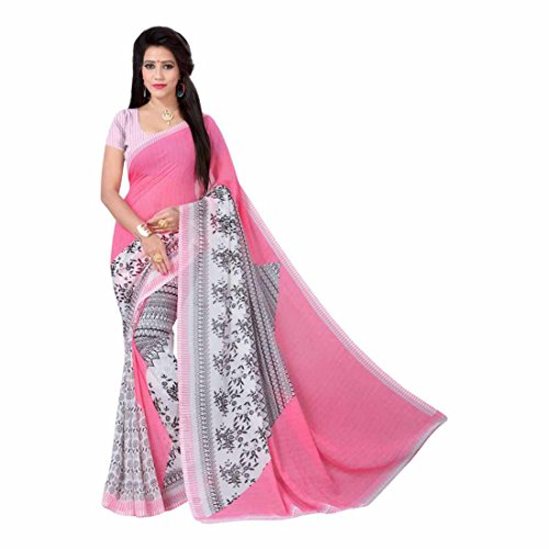 Synthetics Floral Print Fashion Georgette Saree (Pink, Black) -