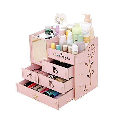 CHENZHAOL Schmuckschatulle Mädchen Make-up Kosmetische Aufbewahrungsbox Desktop Aufbewahrungsbox Montage Holz Große Kapazität DIY Schmuck Container Organizer mit Spiegel Multi (Color : Pink) -