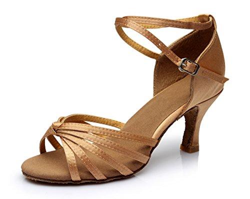 VESI - Damen Schuhe Standard/Latein 5cm/7cm Absatz Beige Knoten 39