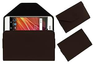 Acm Premium Flip Flap Pouch Case For Panasonic Eluga Arc2 Mobile Leather Cover Magnetic Closure Brown