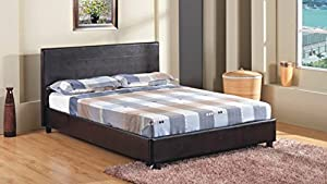 "4FT 6"" Double Faux Leather Bed Frame in Black Prado - inexpensive UK bed shop."