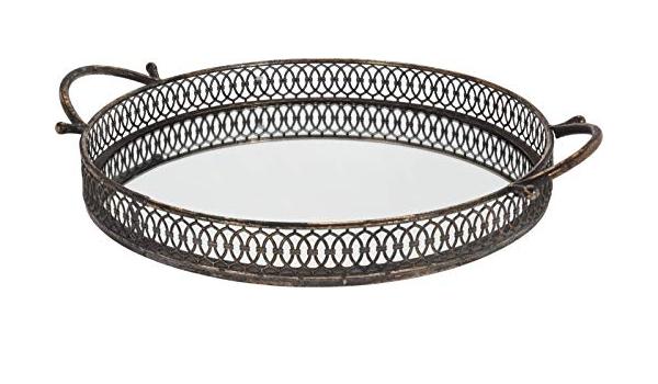 Kaemingk Vassoio Specchio Rotondo Argento con Manici diam.35cm 1 Pezzo