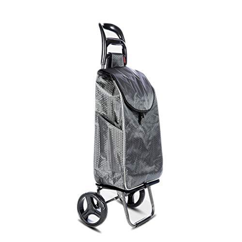 Einkaufslaufkatze, tragbares faltendes Handzug-Hauptauto-ältere Einkaufen-Lebensmittelgeschäft-Wagen-Laufkatze (Color : Gray)