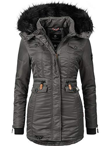 Navahoo Damen Winter-Jacke Winter-Mantel Steppmantel Schätzchen (vegan hergestellt) Anthrazit Gr. L