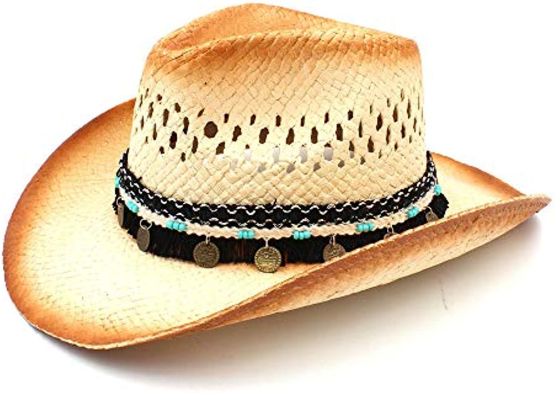 ZLFZZZ Donna Uomo Cappello da Cowboy Occidentale Witht Witht Occidentale  Assel Ribbon Straw Lady papà Beach 2414ec5625e2