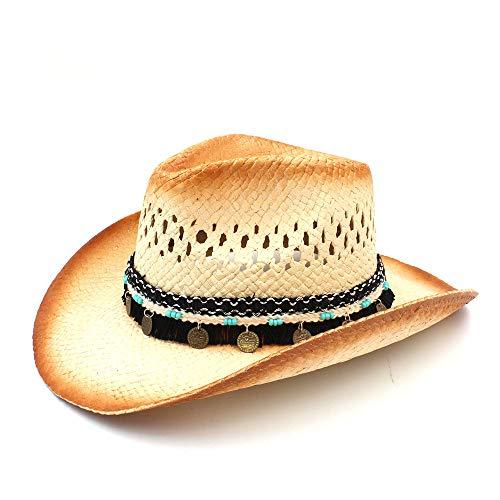 (hat- Frauen Männer Western Cowboy Hüte with Assel Band Stroh Lady Dad Strand Sonne Sombrero Cap Mesh Cowgirl Jazz Hut (Farbe : Natürlich, Größe : 58))