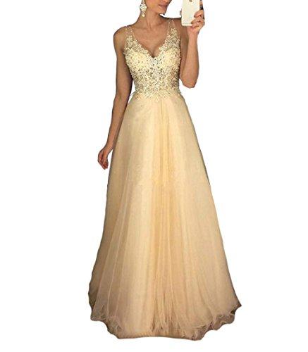 Champagner Tüll A-Linie Abend Abendkleid Rückenfrei Spitze Applique Lange Party Kleid US18 Plus (Finden Sie über Die Plus Größe Kleid)
