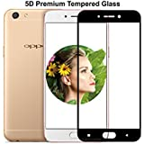 """Full Cover Full Glue 5D Tempered For Oppo A77 , Case Creation (TM) 3D Arc Edge Full Body Front Edge to Edge Tempered Glass Screen Scratch Guard Protector for Oppo A77 / OppoA77 (5.5"""" inch) 2017 (New Launch 2018) Color - Carbonn Black"""