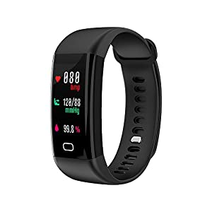 Jersh Smart Electronic Watch,F07 IP68 Color Screen Blood Pressure/Heart Rate Monitor Smart Bracelet Watch Silica Gel Strap Simple Design Step Counter Wristwatch