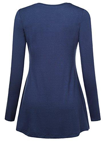 Slivexy Femme T-shirt Decontracte A Manches longues tunique ample Bleu