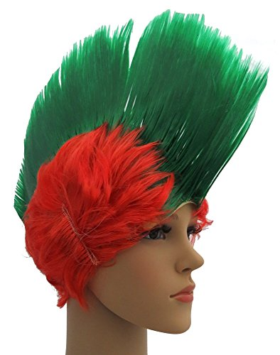 Brubaker Portugal Fan Perücke Irokese Iro-Perücke in Portugals Nationalfarben Grün Rot