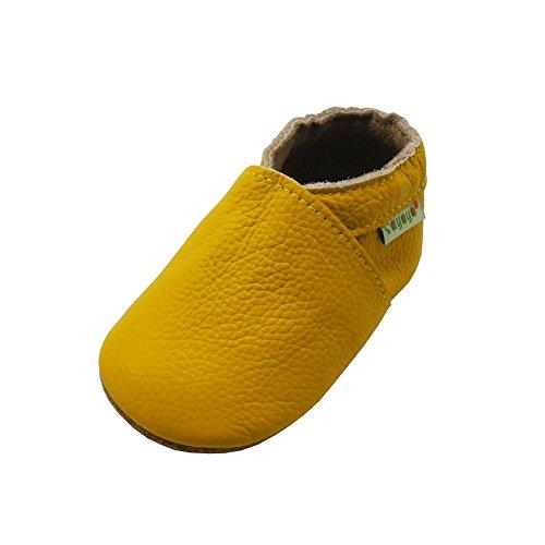 SAYOYO Weichersohlen Babyhausschuhe Lauflernschuhe das Kind Jungen & Mädchen Krabbelschuhe(Gelb,18-24 - Größe 24 Monate Kostüm