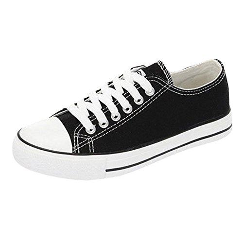 Oasap Damen Klassisch Canvas Schnürsenkel Sneakers Black