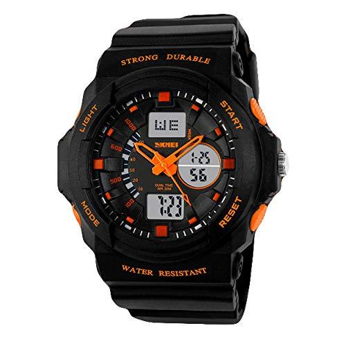 Liabb Herren Sportuhr Elektronische Stoßfest Handgelenk Wasserdichte Uhren für Jugendliche Kinder,Orange,Medium - Medium-uhr