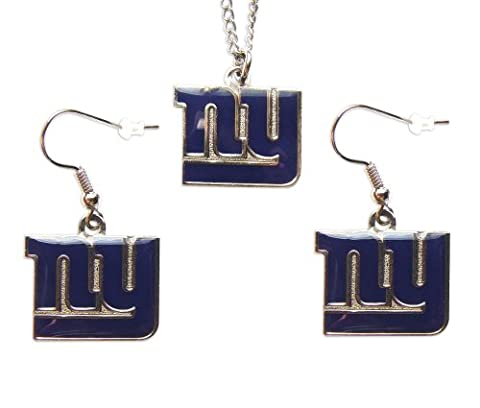 New York Giants Sports Team Logo Women Girls Fashion Wear Necklace And Dangle Earring Charm Set by aminco