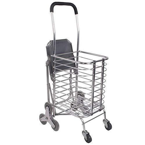 QX IAIZI - Carrello Pieghevole per la Spesa, con Sedile in Lega di Alluminio, Telaio in Lega di Alluminio, Ruote Pieghevoli in PVC (Dimensioni: 60 x 31 x 91 cm)
