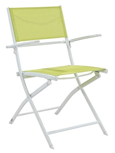 Gartenstuhl Klappstuhl XABI 1   Stahl   Textil   Grün   Weiß   klappbar