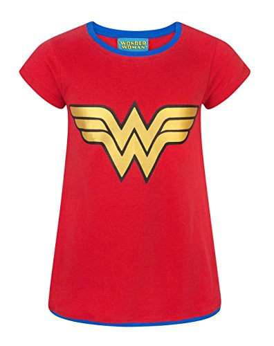 DC Comics Wonder Woman Metallic Logo Girl's T-Shirt (11-12 Years) (Woman Wonder Kids Shirt)