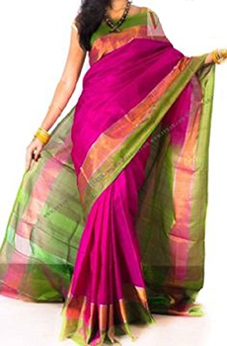 Fashion Flowerz Women's Silk Saree With Blouse Piece(Flofash-26_Multicolor_Free Size)