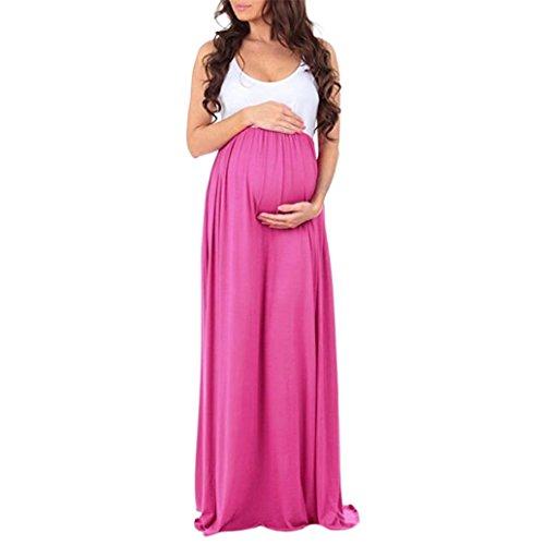 Amphia Kleider Damen Schwanger Frau Spitze Lange Maxi Kleid Mutterschaft Kleid Fotografie Requisiten Kleider Umstandskleid (Heiß Rosa, S)