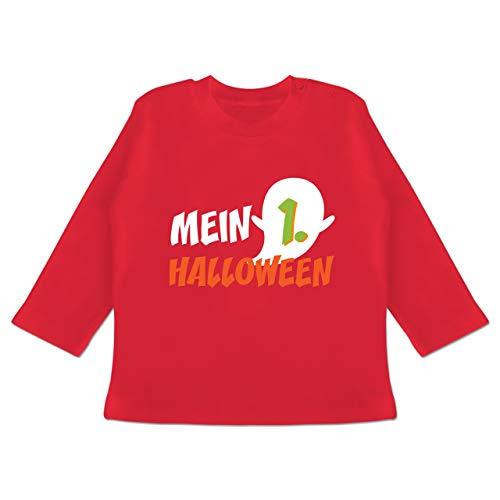 (Anlässe Baby - Mein erstes Halloween Geist - 18-24 Monate - Rot - BZ11 - Baby T-Shirt Langarm)