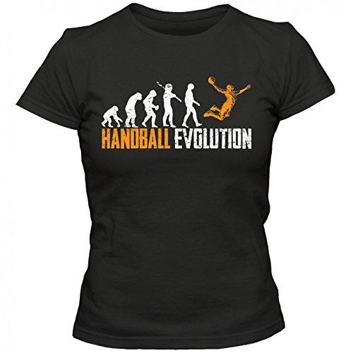 Handball Evolution #1 T-Shirt   Kreisläufer   Meisterschaft   Handballer   Frauen   Shirt Schwarz (Deep Black L191)