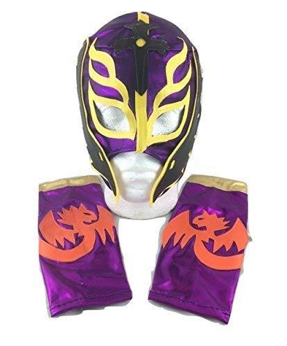 (UK Halloween Karneval Cosplay Kinder lila Sohn Devil Rey Mysterio Wrestling Cosplay Voller Kopf Maske Halloween - universell Größe WWE Kostüm Verkleidung Kostüm Outfit)