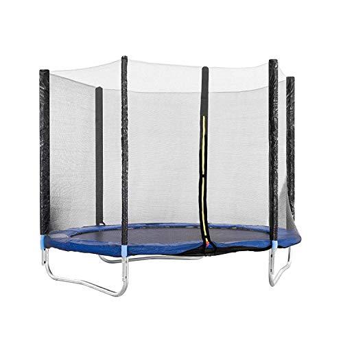 EGLEMTEK Balzo - Cama elástica con Red de Seguridad, Postes Acolchados y Revestimiento en los Bordes, Ideal para jardín, Color Azul, 145 cm