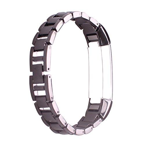 HuaForCity Fitbit Alta HR Bands Black,Fitbit Alta Ersatz Metall Edelstahl Armband,Fitbit Fitness Tracker Wrist Strap für Fitbit Alta/HR