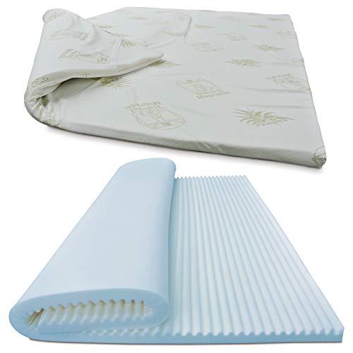 Baldiflex topper correttore materasso matrimoniale in memory foam fresh wave, fodera in aloe vera sfoderabile, fresco, traspirante, ergonomico, antiacaro, 160 x 190 cm h 6 cm