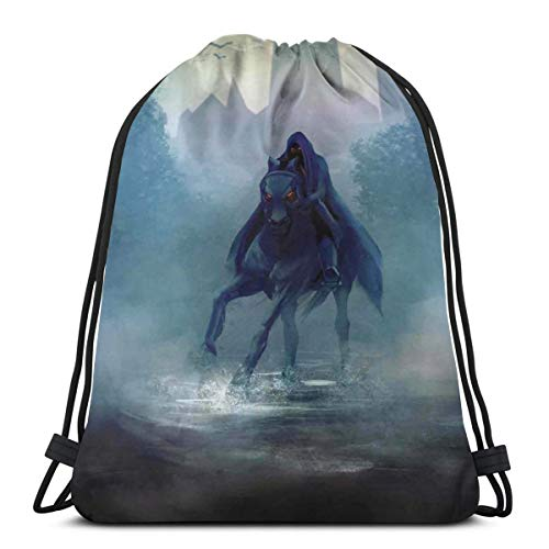 e Bag Gym Bags Storage Backpack, Fantasy Horseman with Hood Riding In Dark Mystic Foggy Forest Road Fairytale Theme,Very Strong Premium Quality Gym Bag for Adults & Children ()
