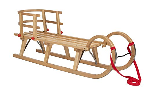 Impag® Hörner-Schlitten 115 cm | 125 cm lang | europäisches Buche Massivholz | Sport-Qualität