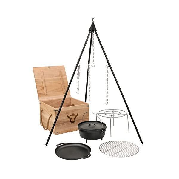 BBQ-TORO Cast Iron Dutch Oven Kit in Wooden Box, Fired, Saucepan, Frying Pan, Griddle, Tripod and More, 6 Piece Set 1
