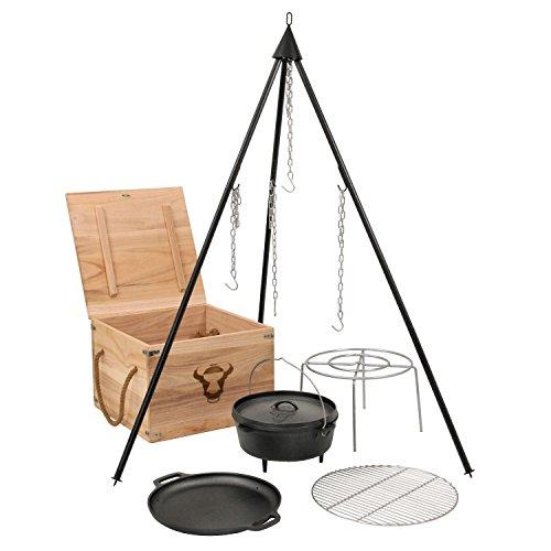 dutch oven dreibein BBQ-Toro 6-teiliges Dutch Oven Kit in Holzkiste, Gusseisen, eingebrannt, Topf, Pfanne, Grillrost, Dreibein und mehr