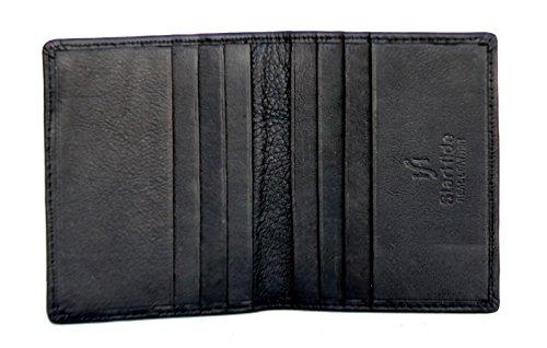 StarHide® Männer Kleine Schlanke Echtes Leder Kreditkarten Halter Mini Karte Fall Schwarz / Braun #105 (Schwarz) Schwarz