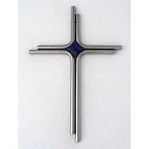 Edelstahl-Kreuz mit blauem Glasstein,ca. 19x12,5cm (Christliche Das Wand Kreuz Hängen)