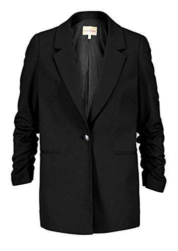 Tom Tailor Denim Damen-Blazer Einknopf-Blazer mit gerafften Ärmeln schwarz (XL)