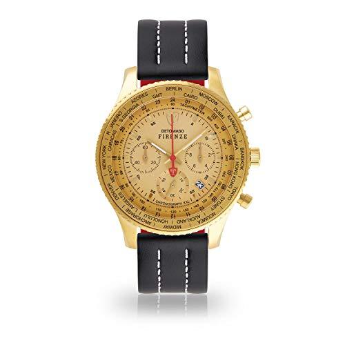 DETOMASO Firenze XXL Herren-Armbanduhr Chronograph Analog Quarz goldenes Edelstahlgehäuse goldenes Zifferblatt (Leder - Schwarz (Naht: Weiß))