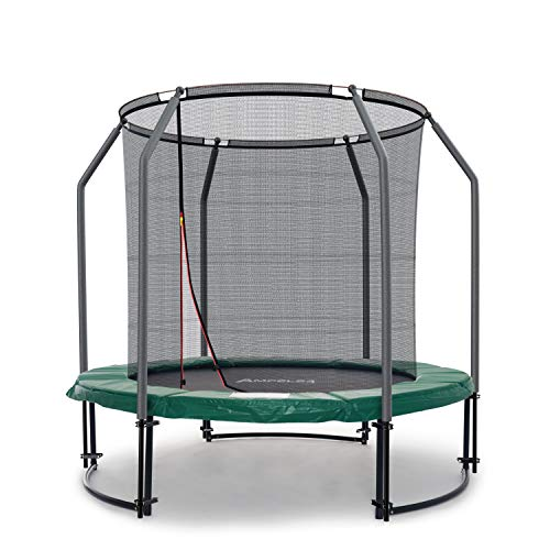 Ampel 24 Deluxe Outdoor Trampolin 244 cm mit innenliegendem Netz, Belastbarkeit 120 kg, Sicherheitsnetz mit 6 Stangen und Stabilitätsring