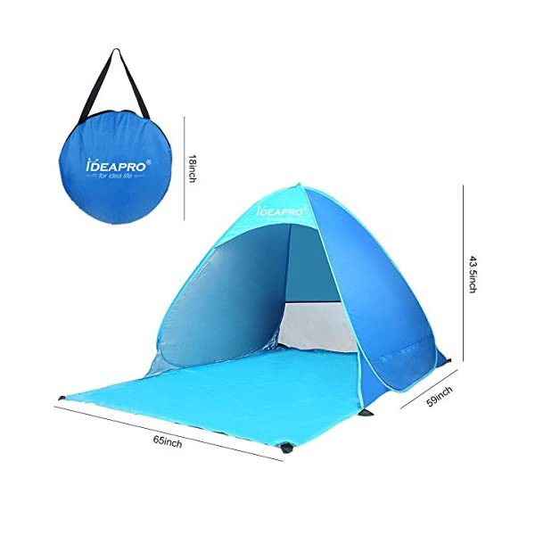 Camping 2-3 Person Automatic Instant Beach Day Tent Anti-UV Sun Shade Outdoor Camping Tent Waterproof Beach Shelter for Fishing Garden Ideapro Pop Up Beach Tent Picnic Beach