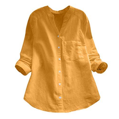 NPRADLA Mujer Algodón de Lino Camisa de Manga Larga sólida Ocasional Blusa con Botones Casual Elegante Moda Amarillo XL