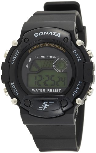 Sonata Digital Grey Dial Men's Watch -NK7982PP03